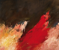 Einsamer nie als im August: Erfüllungsstunde – im Gelände, Die roten und die goldenen Brände. Doch wo ist deiner Gärten Lust?   Öl und Ölpastell auf Leinwand   49 x 58 cm   2007